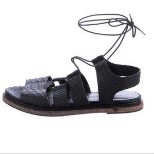 Freda Salvador Wise Snake Black Gladiator Sandals